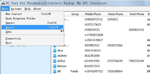 export android cotnacts to a file menu