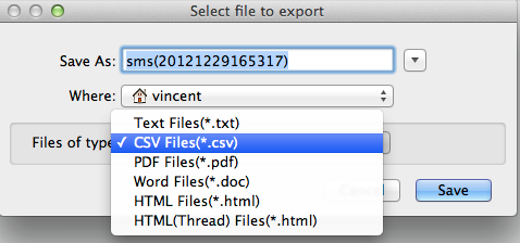 export Android SMS and MMS to file on Mac