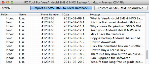 backup Android SMS and MMS to Mac