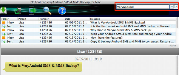 Search Android SMS mms