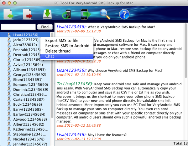 HHow to SMS chat on Mac with Mac PC Tool for VeryAndroid SMS Backup