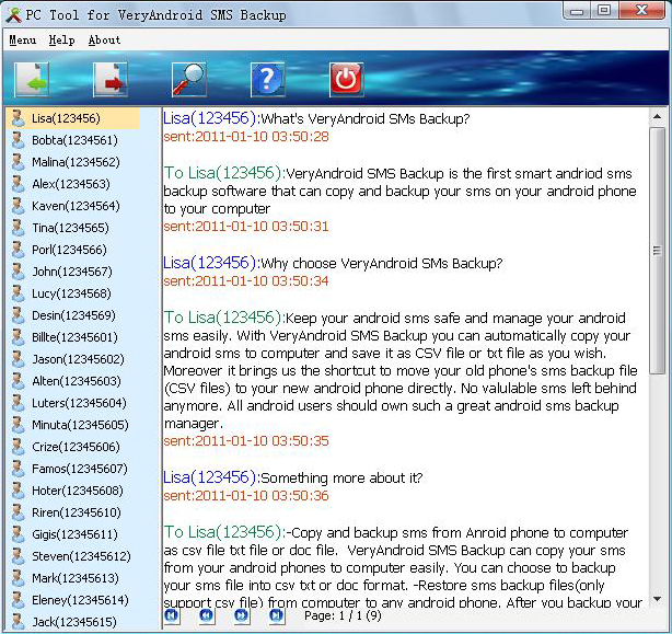View SMS in threading mode on PC